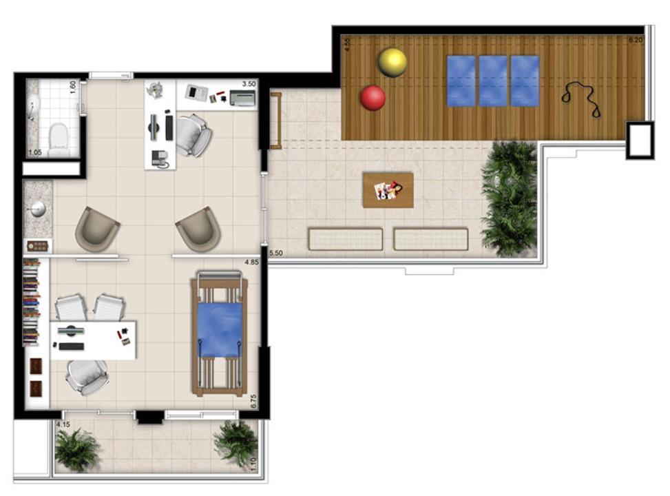 Planta - Tipo ilustrada da cobertura de 72 m² | Escritórios Design – Salas Comerciaisno  Cambuí - Campinas - São Paulo
