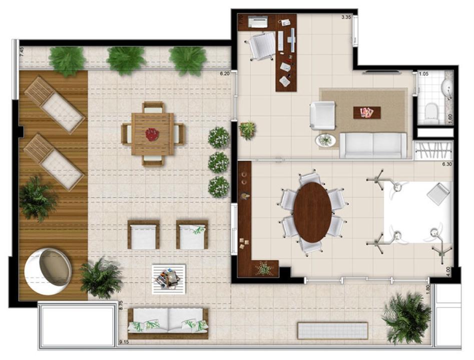 Planta - Tipo ilustrada da cobertura de 113 m² | Escritórios Design – Salas Comerciaisno  Cambuí - Campinas - São Paulo