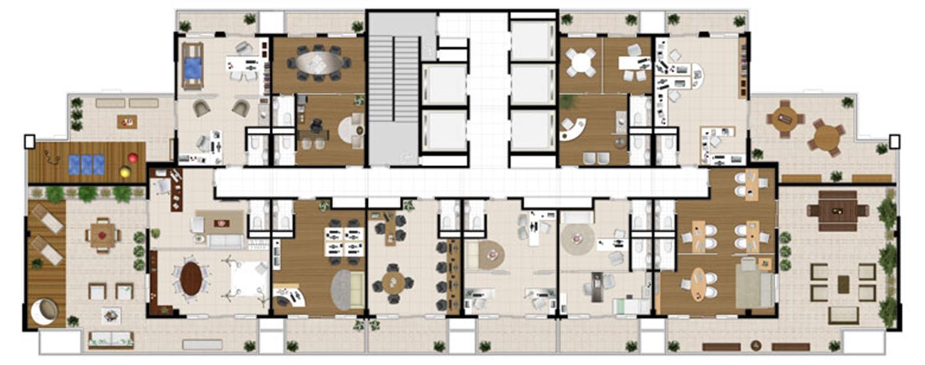 Planta - Tipo ilustrada da cobertura | Escritórios Design – Salas Comerciaisno  Cambuí - Campinas - São Paulo