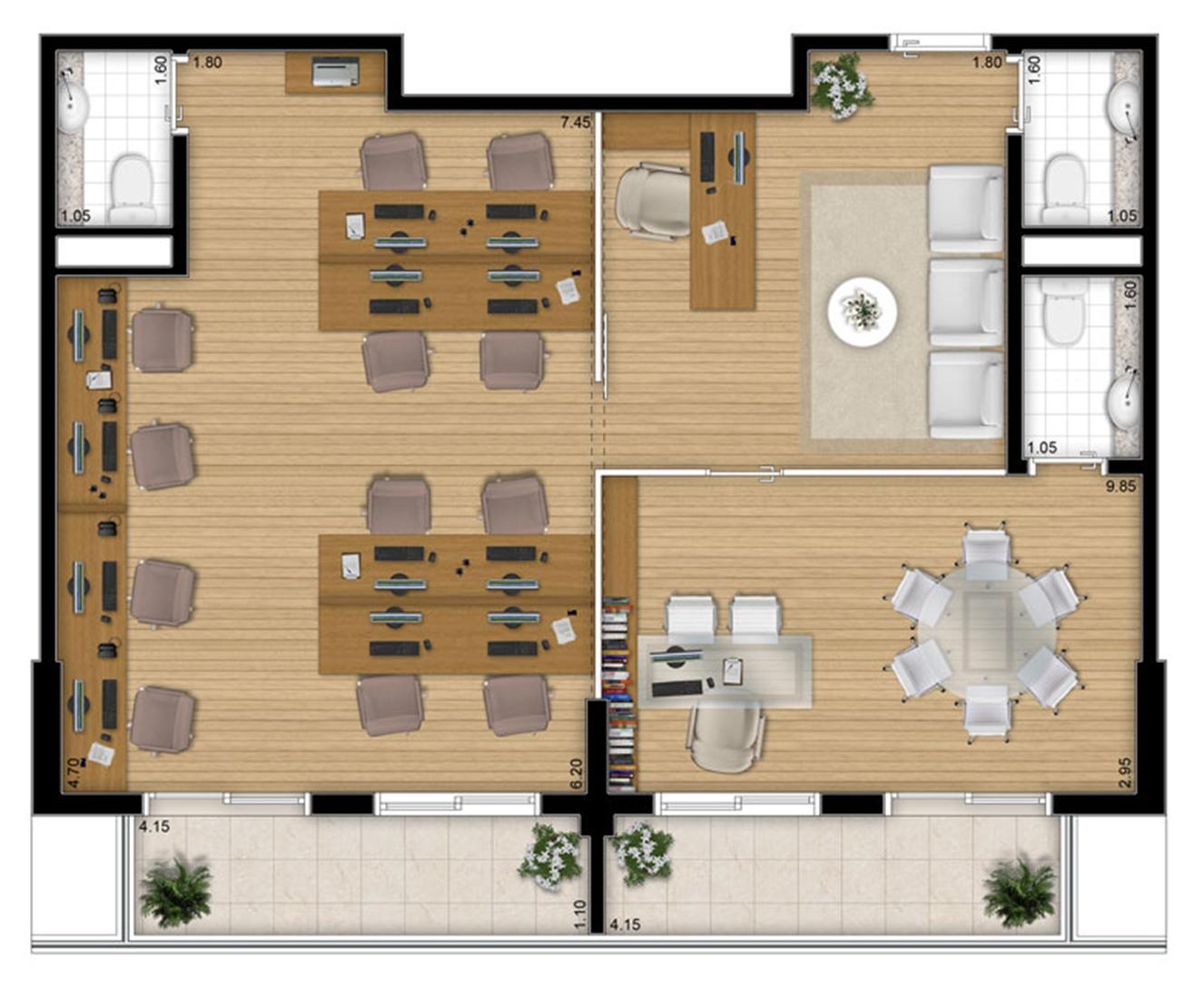 Planta - tipo ilustrada da opção junção 80 m² | Escritórios Design – Salas Comerciais no  Cambuí - Campinas - São Paulo