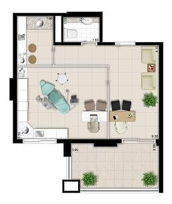 Planta - Tipo ilustrada do escritório de 43 m² privativos | Escritórios Design – Salas Comerciais no  Cambuí - Campinas - São Paulo