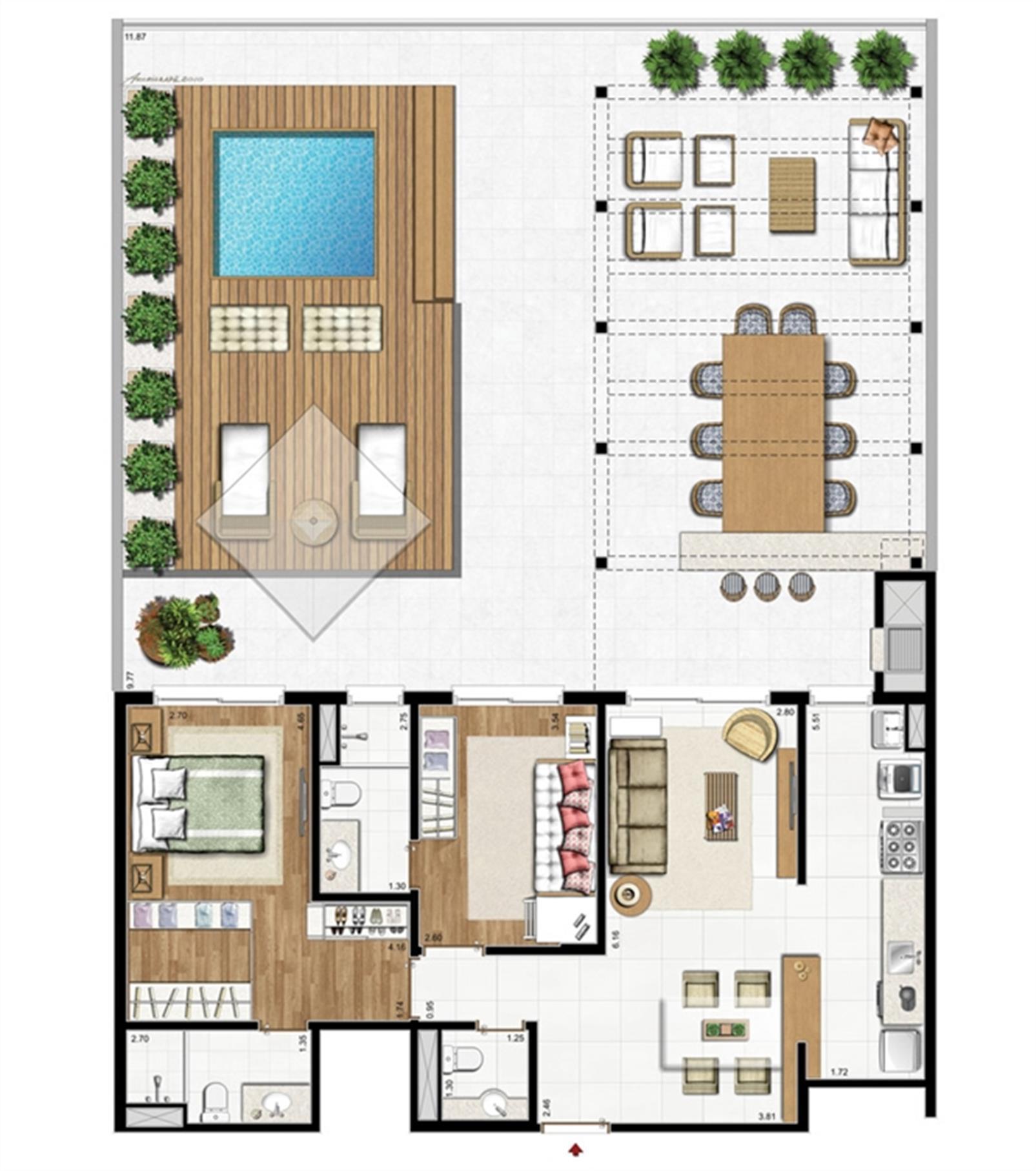 2 suítes e lavabo – Apto. garden - Planta padrão  195 m² privativos 252 m² de área total   Visionnaire – Apartamentono  Abraão - Florianópolis - Santa Catarina