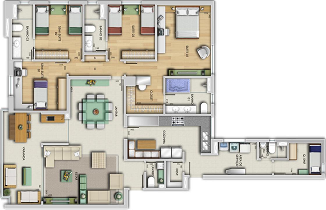 Perspectiva ilustrativa do apartamento tipo - Porto Real | Grand Lider Felipe dos Santos – Apartamentoem  Lourdes - Belo Horizonte - Minas Gerais