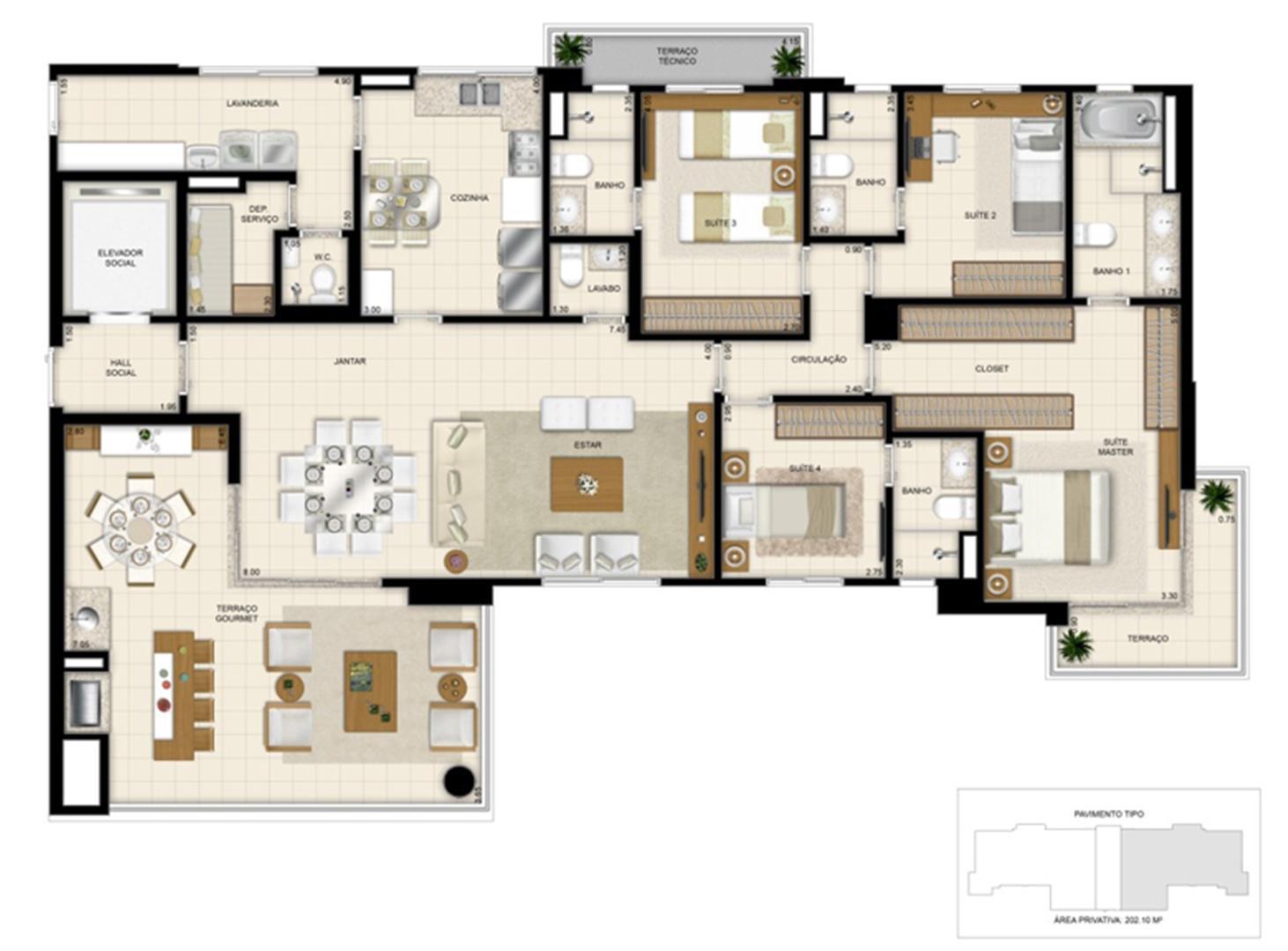 Planta 202m² | 395 Place – Apartamento em  Umarizal  - Belém - Pará