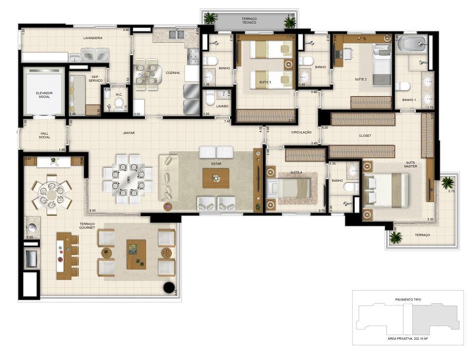 Planta 202m² | 395 Place – Apartamentoem  Umarizal  - Belém - Pará