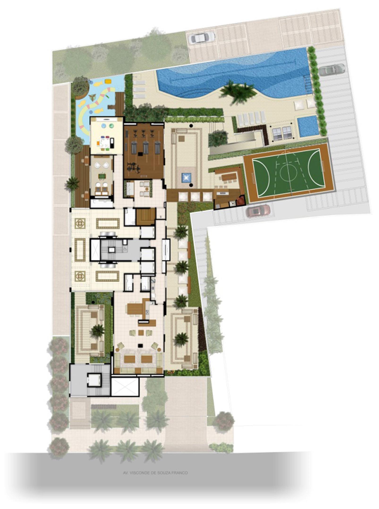 Perspectiva ilustrada Implantação | 395 Place – Apartamentoem  Umarizal  - Belém - Pará