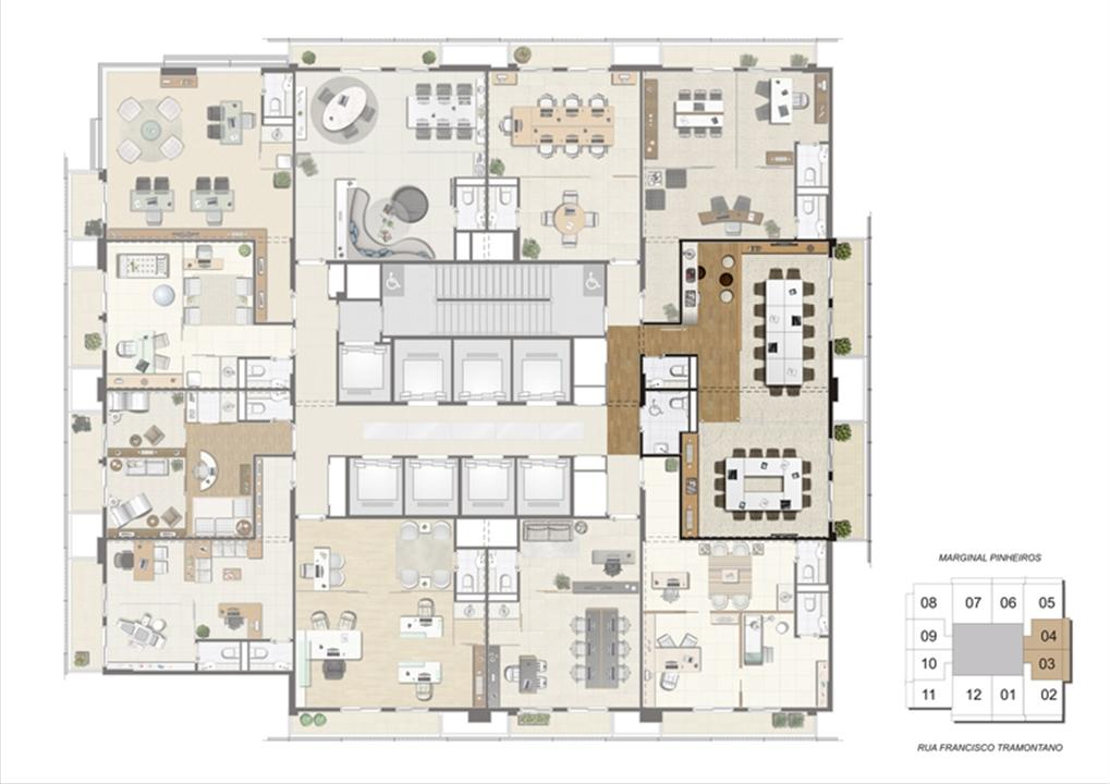Planta de localização das salas de reunião 1º pavimento | Escritórios Morumbi Prime – Salas Comerciaisno  Morumbi - São Paulo - São Paulo