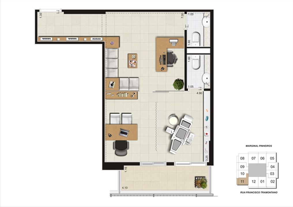 Planta do escritório de 48 m² | Escritórios Morumbi Prime – Salas Comerciaisno  Morumbi - São Paulo - São Paulo