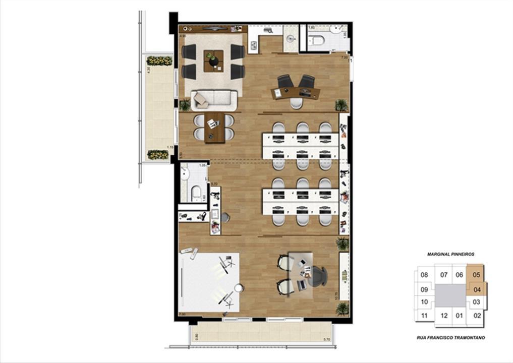 Planta junção de 100 m² | Escritórios Morumbi Prime – Salas Comerciaisno  Morumbi - São Paulo - São Paulo