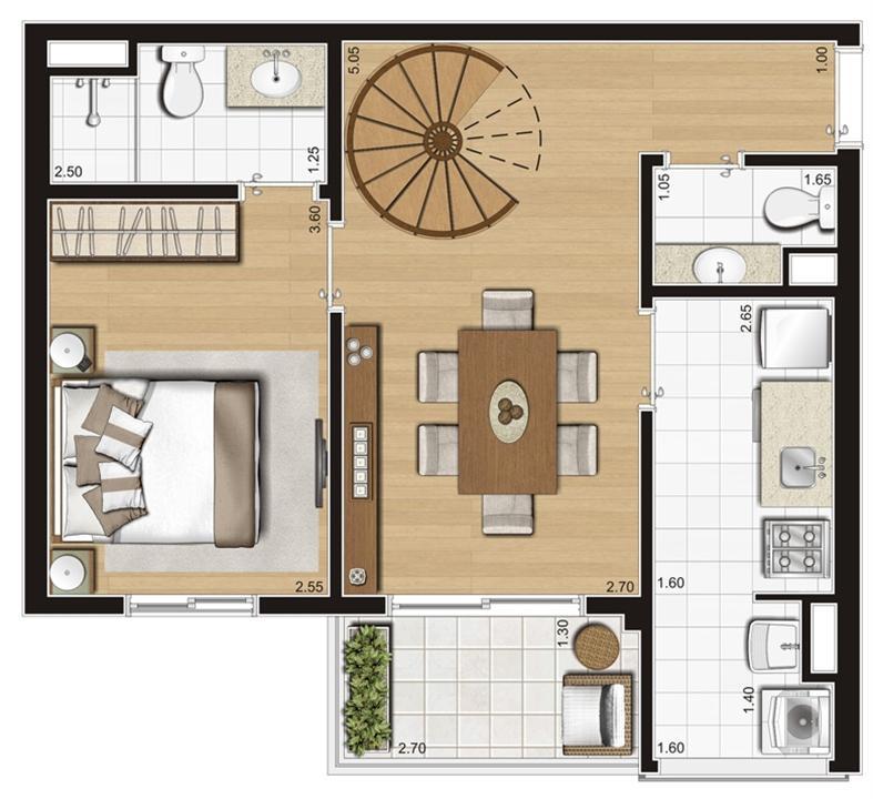 Planta ilustrada do pavimento inferior do duplex de 93 m² | Emirado – Apartamentono  Boqueirão - Santos - São Paulo