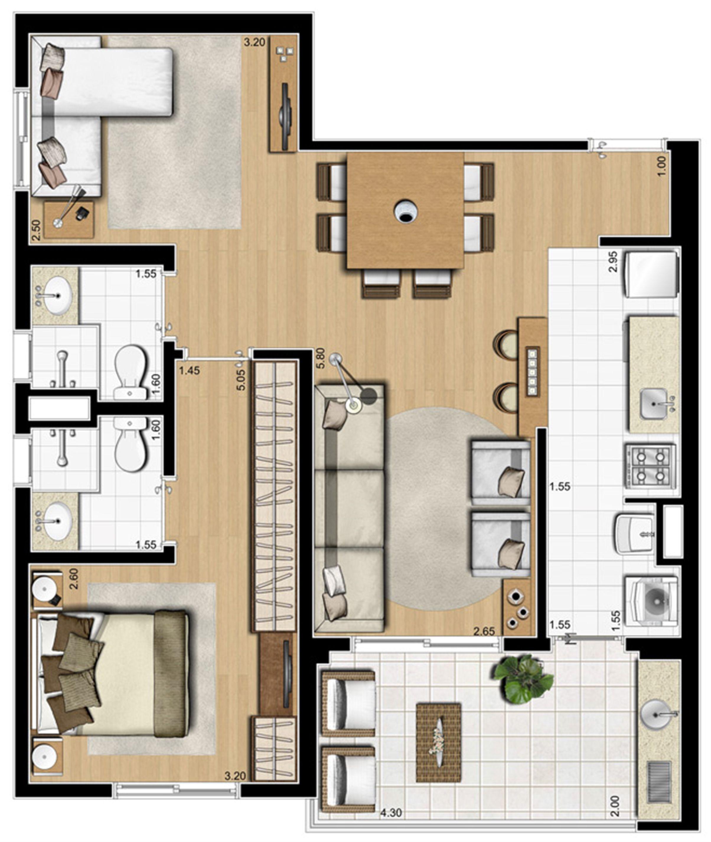 Planta ilustrada opção de 70 m² | Emirado – Apartamento no  Boqueirão - Santos - São Paulo