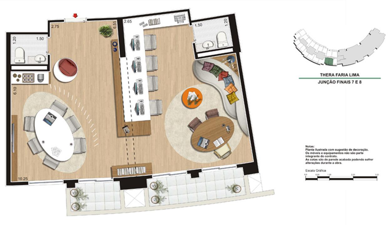 Planta da Sugestão de Junção dos Escritórios de 77 m²   Escritório de Arquitetura | Thera Faria Lima Pinheiros Office – Salas Comerciaisem  Pinheiros - São Paulo - São Paulo