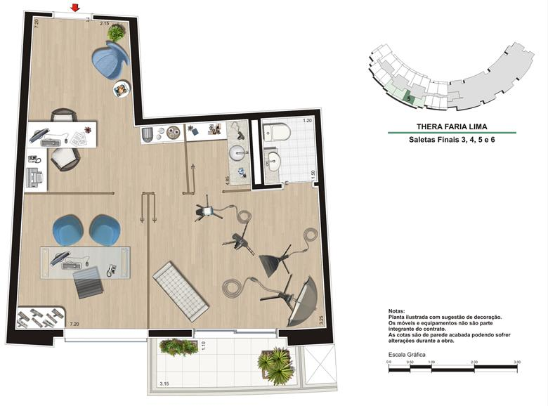 Planta Escritório 48 m²   Studio de Fotografia   Thera Faria Lima Pinheiros Office – Salas Comerciais em  Pinheiros - São Paulo - São Paulo