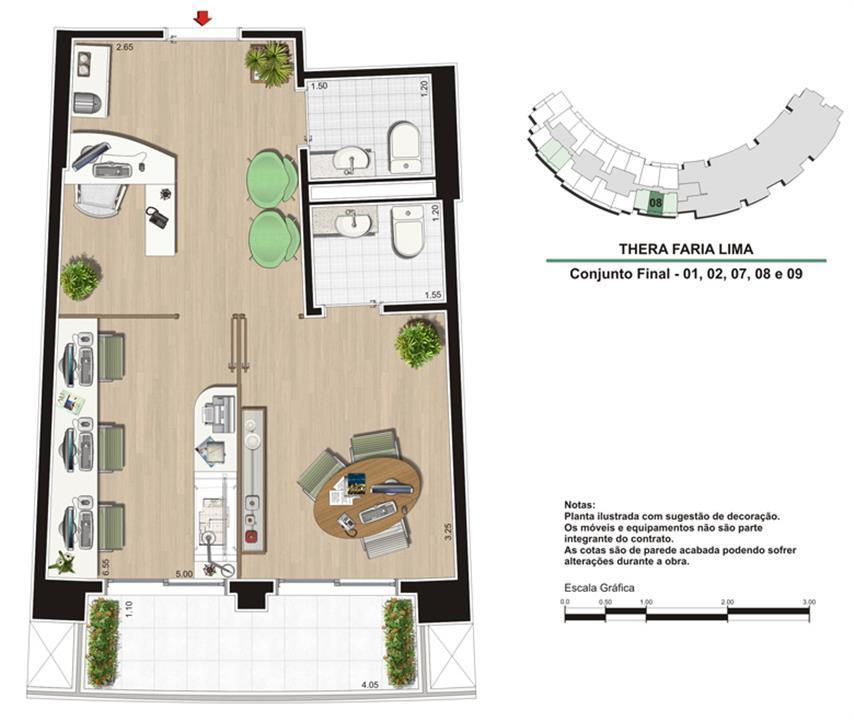 Planta Escritório de 40 m²   Studio de Design   Thera Faria Lima Pinheiros Office – Salas Comerciaisem  Pinheiros - São Paulo - São Paulo