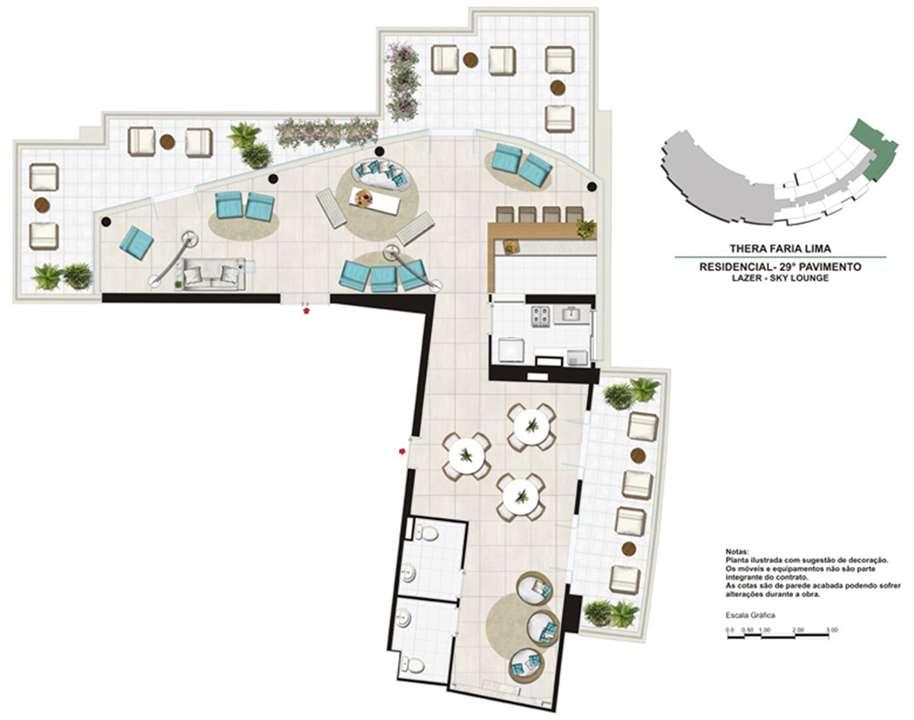 Planta do Sky Lounge   Salão de festas no 29º Pavimento | Thera Faria Lima Pinheiros Residence – Apartamentoem  Pinheiros - São Paulo - São Paulo