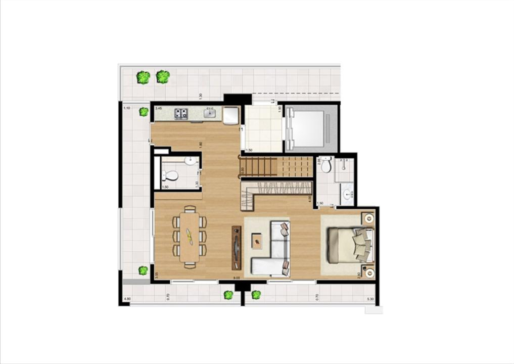 Duplex Inferior de 125 m² | Home Boutique – Apartamentono  Brooklin - São Paulo - São Paulo