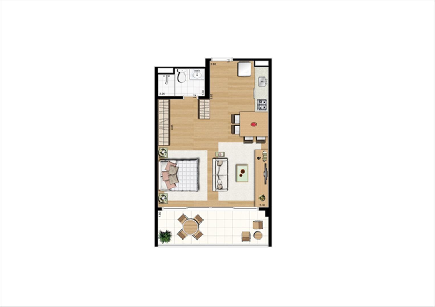 Planta studio inteligente de 48 m² - 2º ao 8º pavimento, finais 2 e 9 | Home Boutique – Apartamento no  Brooklin - São Paulo - São Paulo