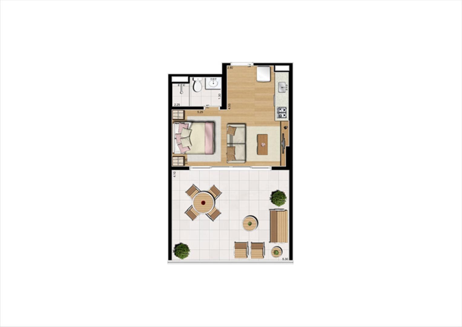 Planta studio inteligente de 48 m² - 9º pavimento, finais 2 e 9 | Home Boutique – Apartamento no  Brooklin - São Paulo - São Paulo