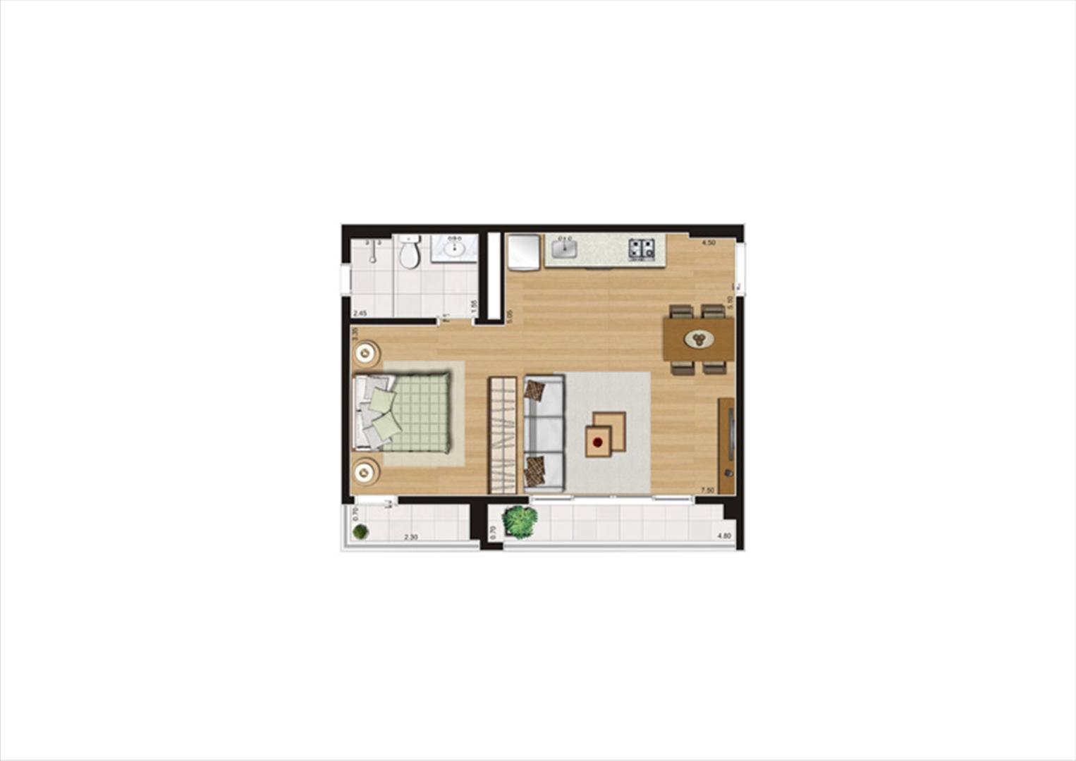 Planta studio inteligente de 48 m² - 10º pavimento, final 9  | Home Boutique – Apartamento no  Brooklin - São Paulo - São Paulo