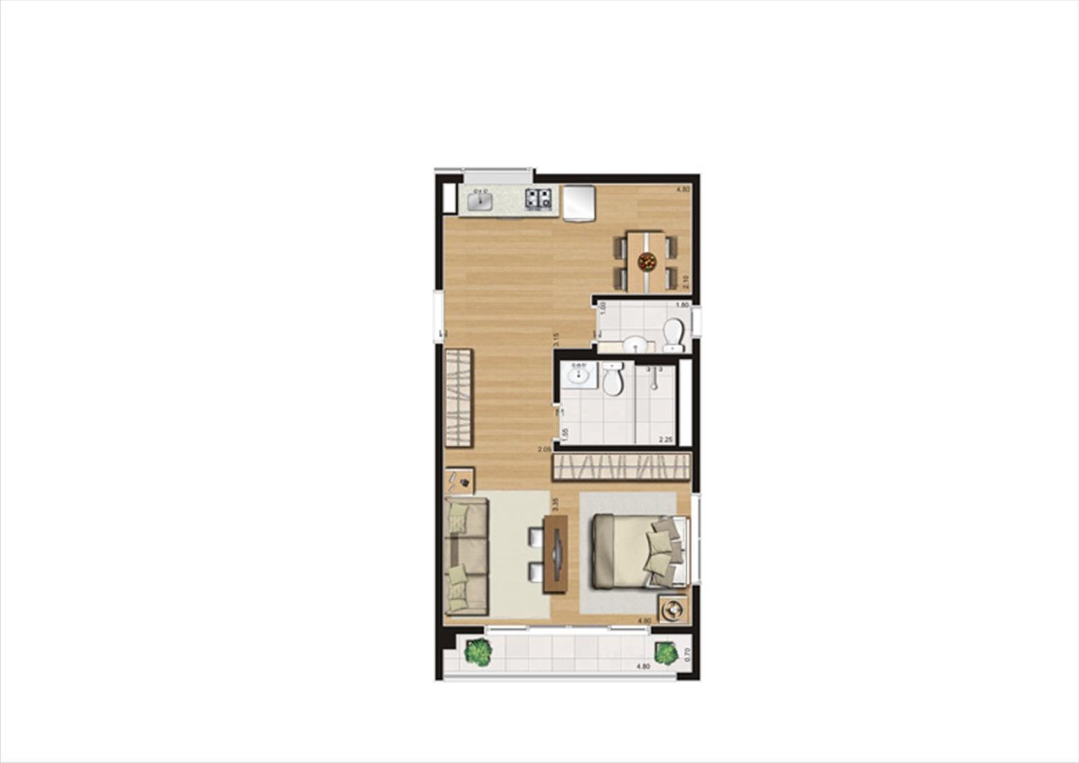 Planta studio inteligente de 50 m² | Home Boutique – Apartamento no  Brooklin - São Paulo - São Paulo