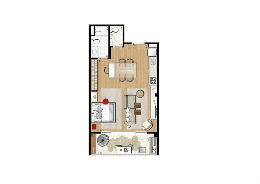 Planta studio inteligente de 54 m² | Home Boutique – Apartamentono  Brooklin - São Paulo - São Paulo