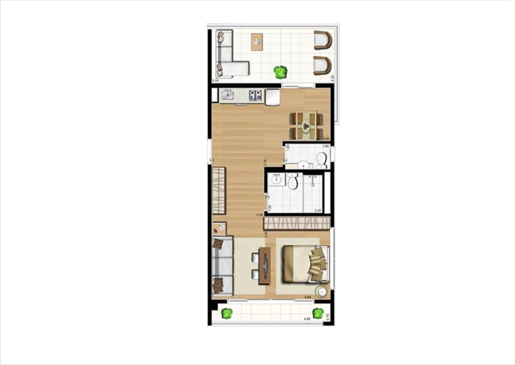 Planta studio inteligente de 63 m² | Home Boutique – Apartamentono  Brooklin - São Paulo - São Paulo