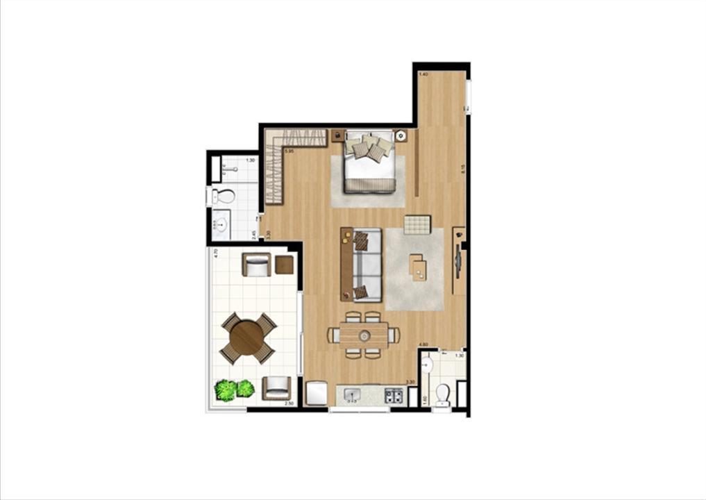 Planta studio inteligente de 67 m² | Home Boutique – Apartamentono  Brooklin - São Paulo - São Paulo