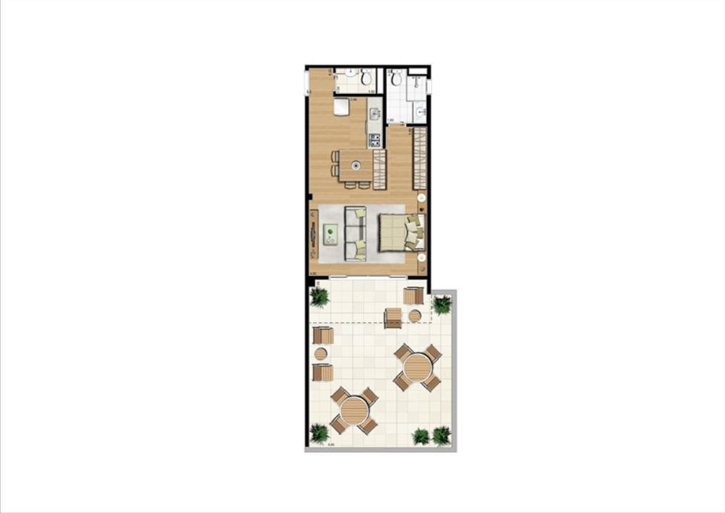 Planta studio inteligente de 86 m² | Home Boutique – Apartamentono  Brooklin - São Paulo - São Paulo