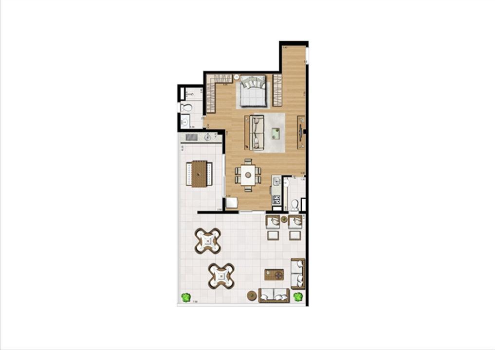 Planta studio inteligente de 110 m² | Home Boutique – Apartamentono  Brooklin - São Paulo - São Paulo