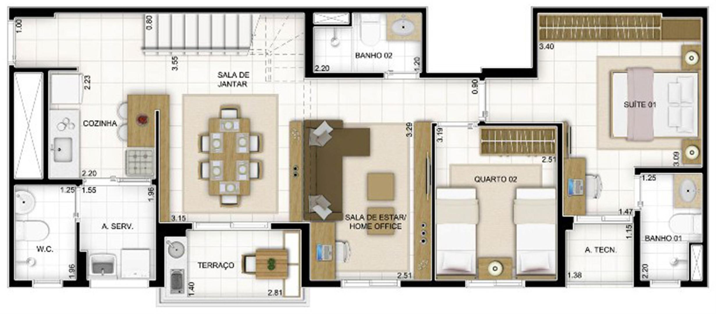 Duplex Andar Inferior 2 quartos Sala Ampliada 159 m²   Quartier Lagoa Nova – Apartamento na  Lagoa Nova - Natal - Rio Grande do Norte