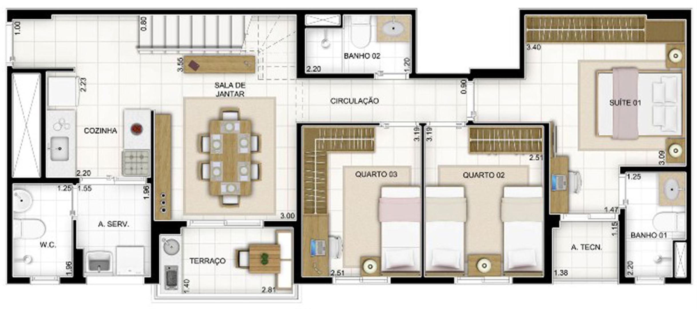 Duplex Andar Inferior 3 quartos 159 m²   Quartier Lagoa Nova – Apartamento na  Lagoa Nova - Natal - Rio Grande do Norte