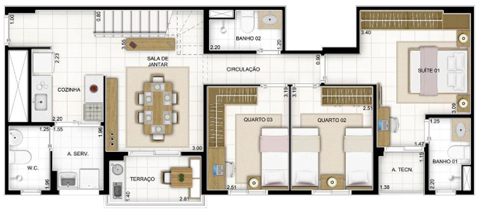 Duplex Andar Inferior 3 quartos 159 m²   Quartier Lagoa Nova – Apartamentona  Lagoa Nova - Natal - Rio Grande do Norte