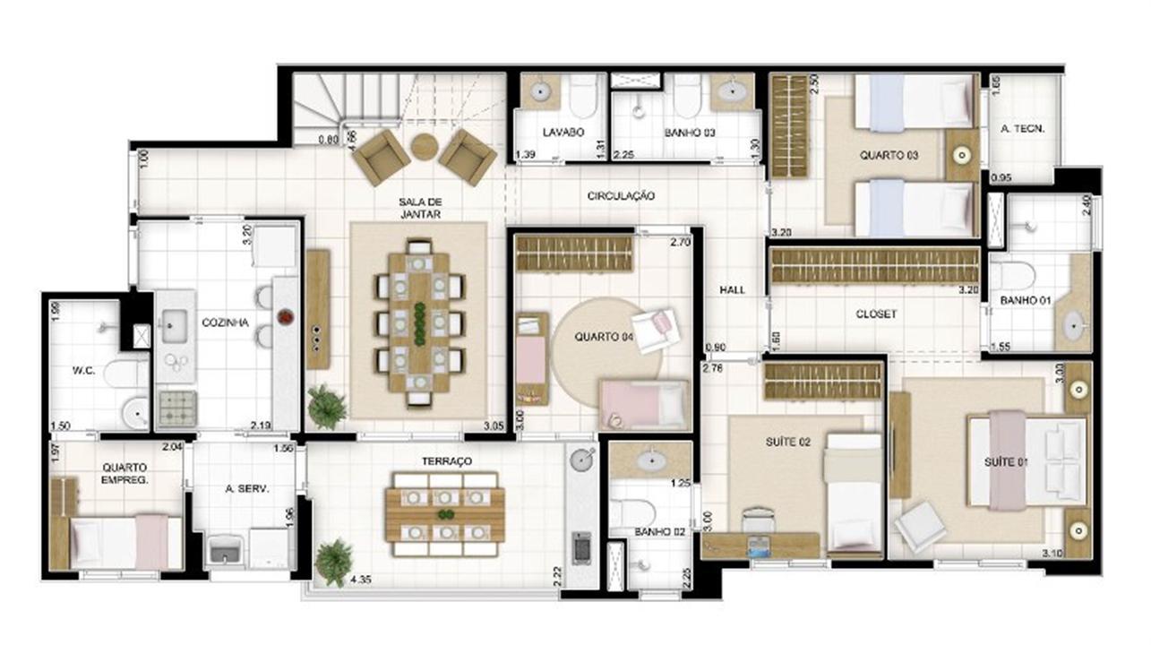 Duplex Andar Inferior 4 quartos 236 m²   Quartier Lagoa Nova – Apartamentona  Lagoa Nova - Natal - Rio Grande do Norte
