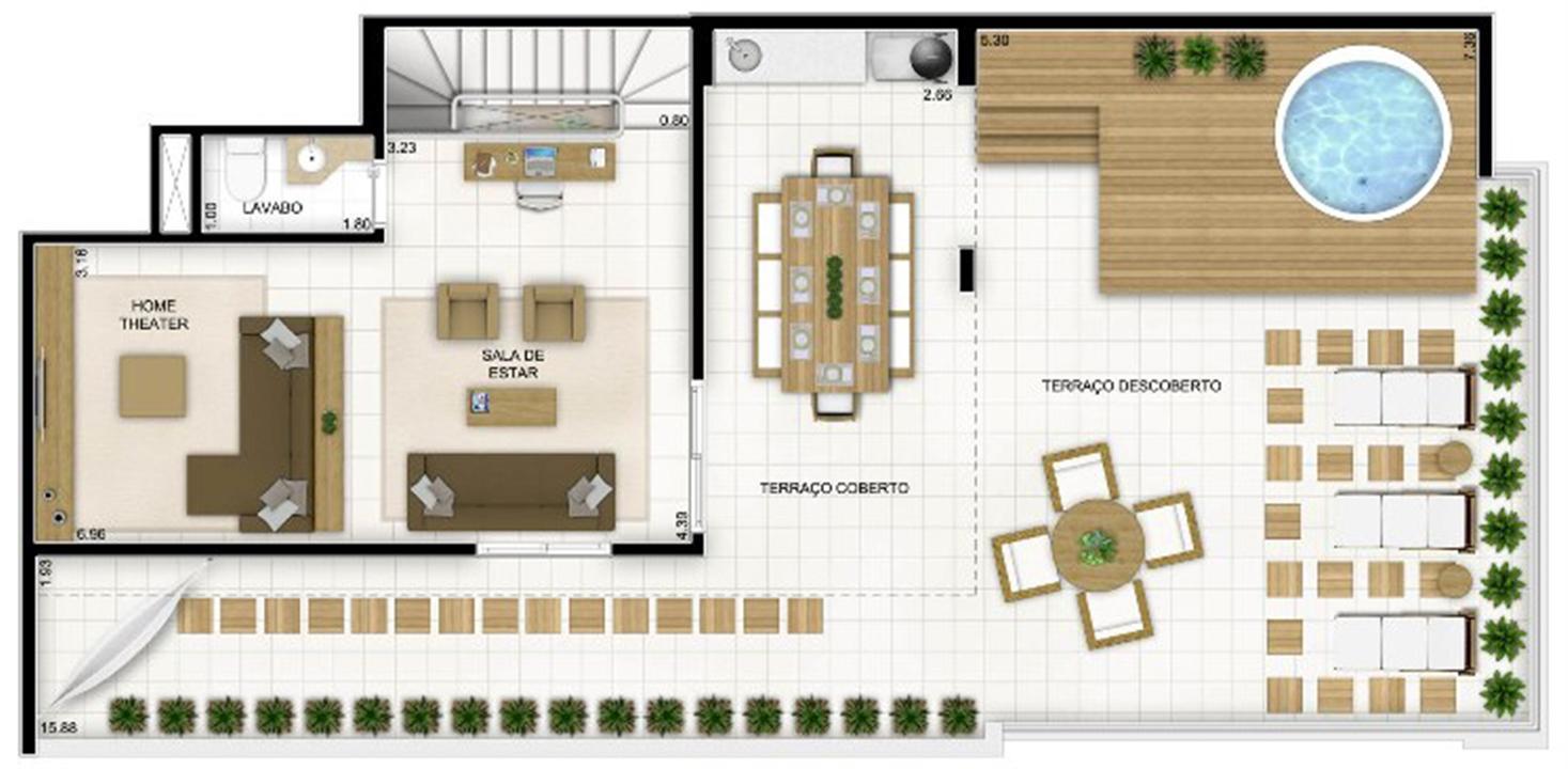 Duplex Andar Superior 236 m²   Quartier Lagoa Nova – Apartamentona  Lagoa Nova - Natal - Rio Grande do Norte