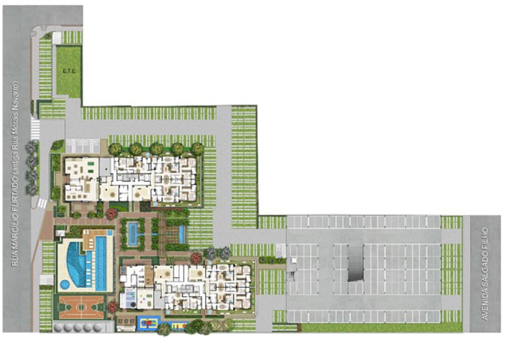 Implantação   Quartier Lagoa Nova – Apartamento na  Lagoa Nova - Natal - Rio Grande do Norte