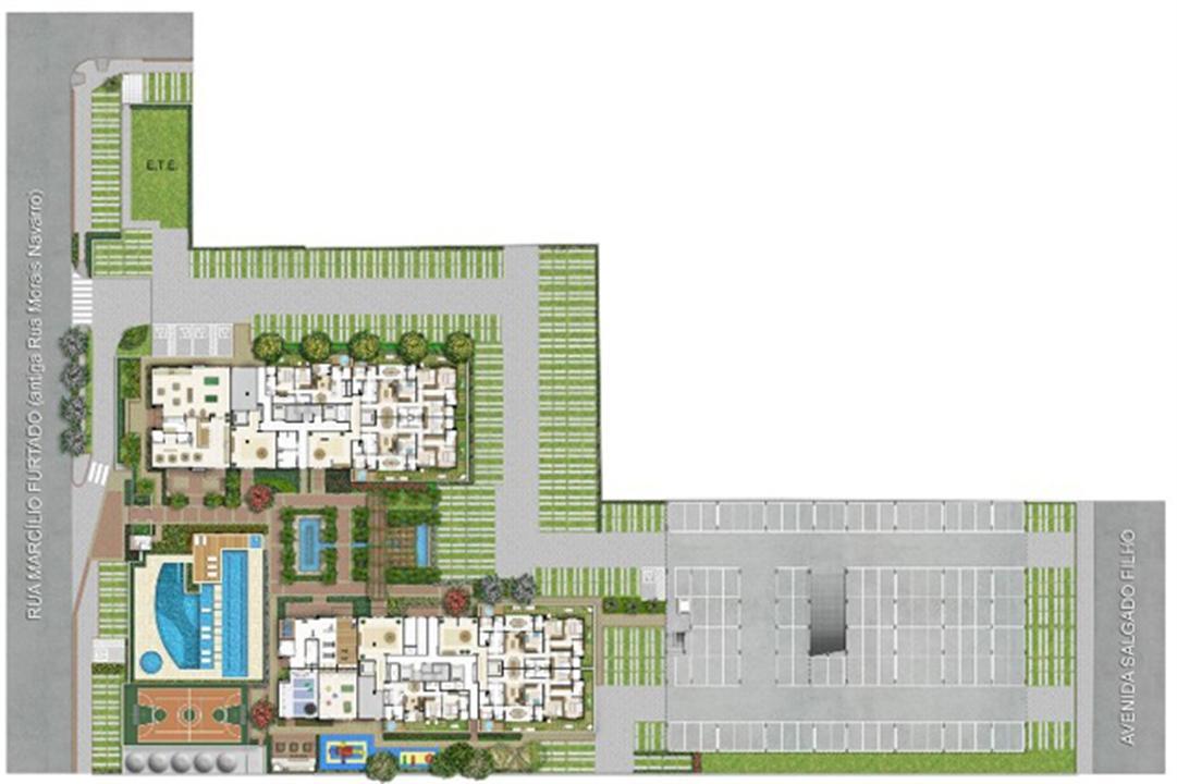 Implantação   Quartier Lagoa Nova – Apartamentona  Lagoa Nova - Natal - Rio Grande do Norte