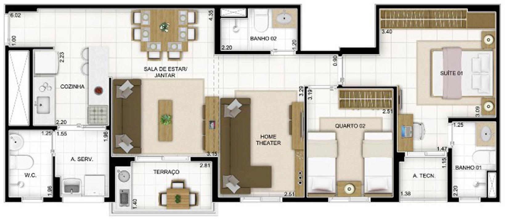 Planta 3 quartos Sala Ampliada   Quartier Lagoa Nova – Apartamentona  Lagoa Nova - Natal - Rio Grande do Norte
