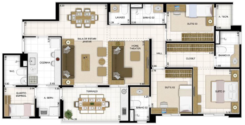 Planta 4 quartos Sala Ampliada    Quartier Lagoa Nova – Apartamentona  Lagoa Nova - Natal - Rio Grande do Norte
