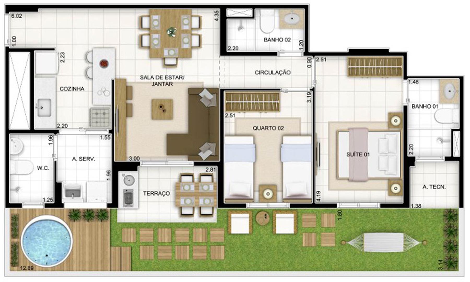 Planta Tipo 3 quartos 81 m²   Quartier Lagoa Nova – Apartamento na  Lagoa Nova - Natal - Rio Grande do Norte