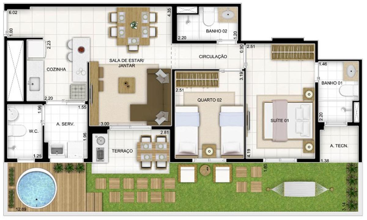 Planta Tipo 3 quartos 81 m²   Quartier Lagoa Nova – Apartamentona  Lagoa Nova - Natal - Rio Grande do Norte