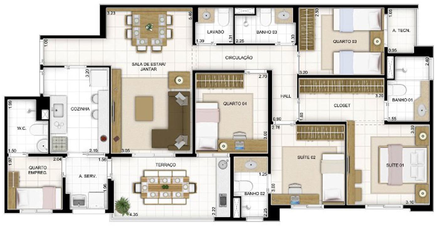 Planta Tipo 4 quartos 119 m²   Quartier Lagoa Nova – Apartamentona  Lagoa Nova - Natal - Rio Grande do Norte