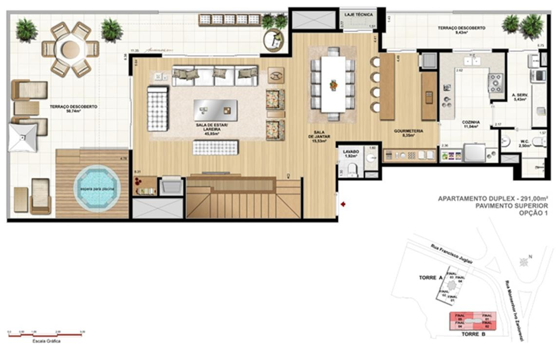Torre 1 - 3 dormitórios com 3 suítes - Cobertura inferior - Tipo opção 1 | Reserva Juglair Ecoville – Apartamentono  Ecoville - Curitiba - Paraná