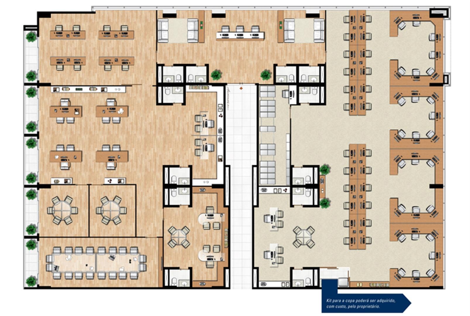 Planta de 104 m² privativos opção de junção   Vega – Salas Comerciais na  Asa Norte  - Brasília - Distrito Federal