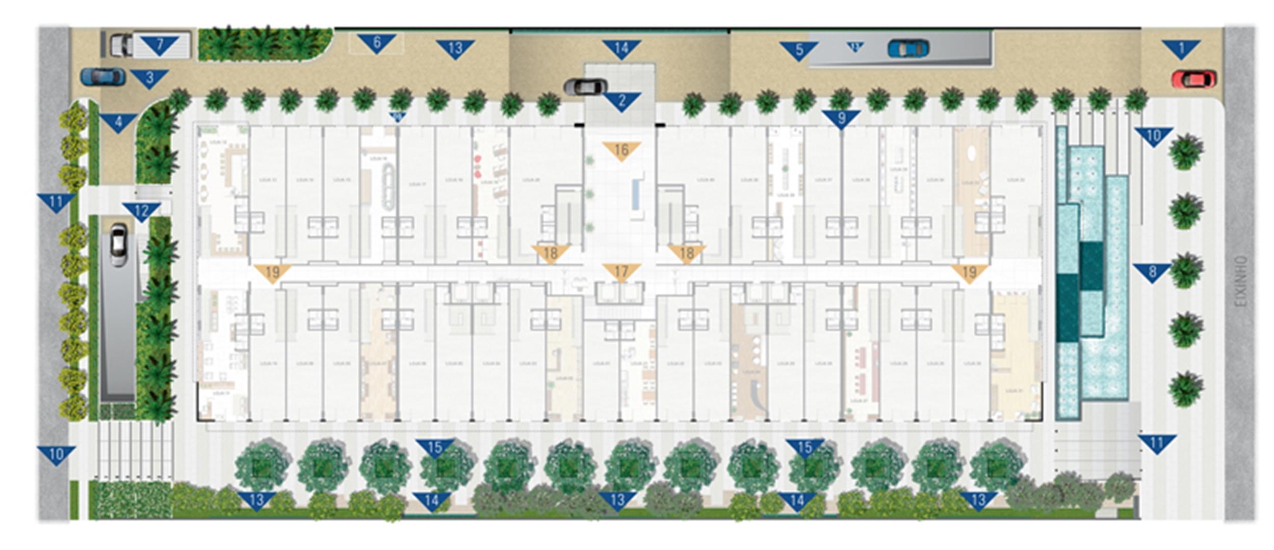 Implantação Geral    Vega – Salas Comerciais na  Asa Norte  - Brasília - Distrito Federal