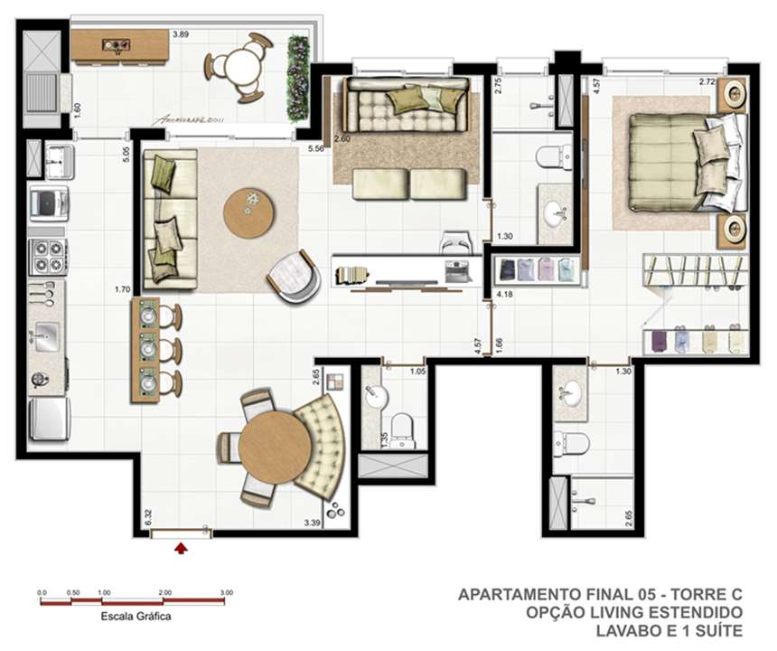 Torre C   F01   Sugestão living estendido | Vitamare – Apartamentono  Abraão - Florianópolis - Santa Catarina