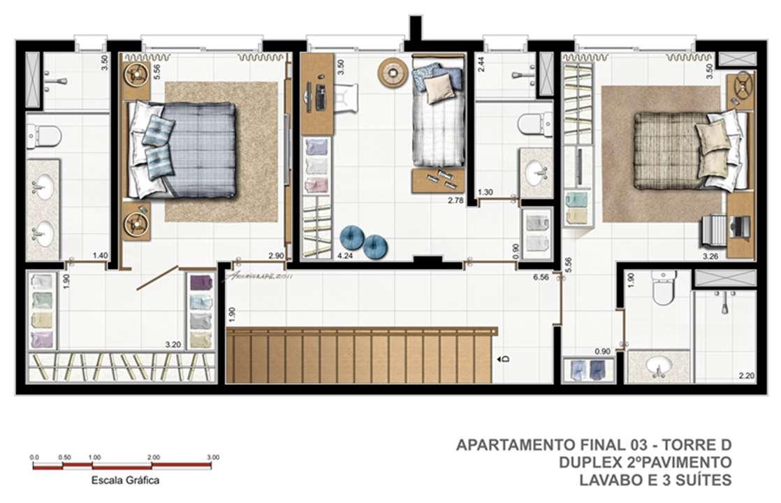 Torre D   F03   Duplex 1º pavimento | Vitamare – Apartamentono  Abraão - Florianópolis - Santa Catarina