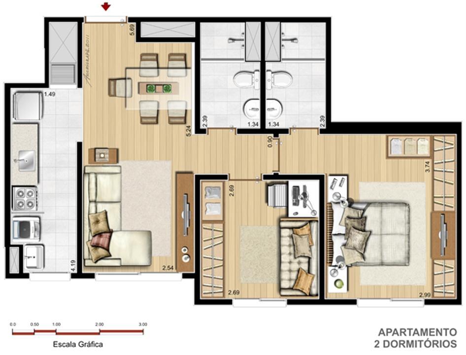 Apto. 2 dorms. com suíte - 56,21 m² | Way – Apartamentono  Junto ao Menino Deus - Porto Alegre - Rio Grande do Sul
