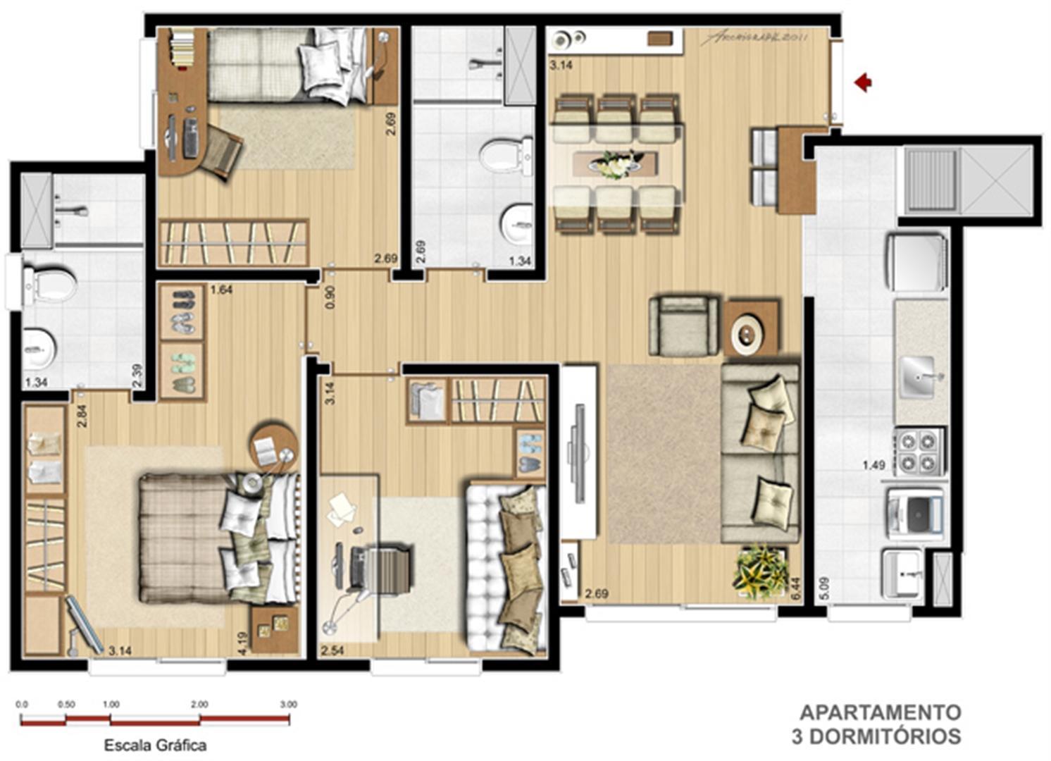 Apto. 3 dorms. com suíte - 70,58 m² | Way – Apartamentono  Junto ao Menino Deus - Porto Alegre - Rio Grande do Sul