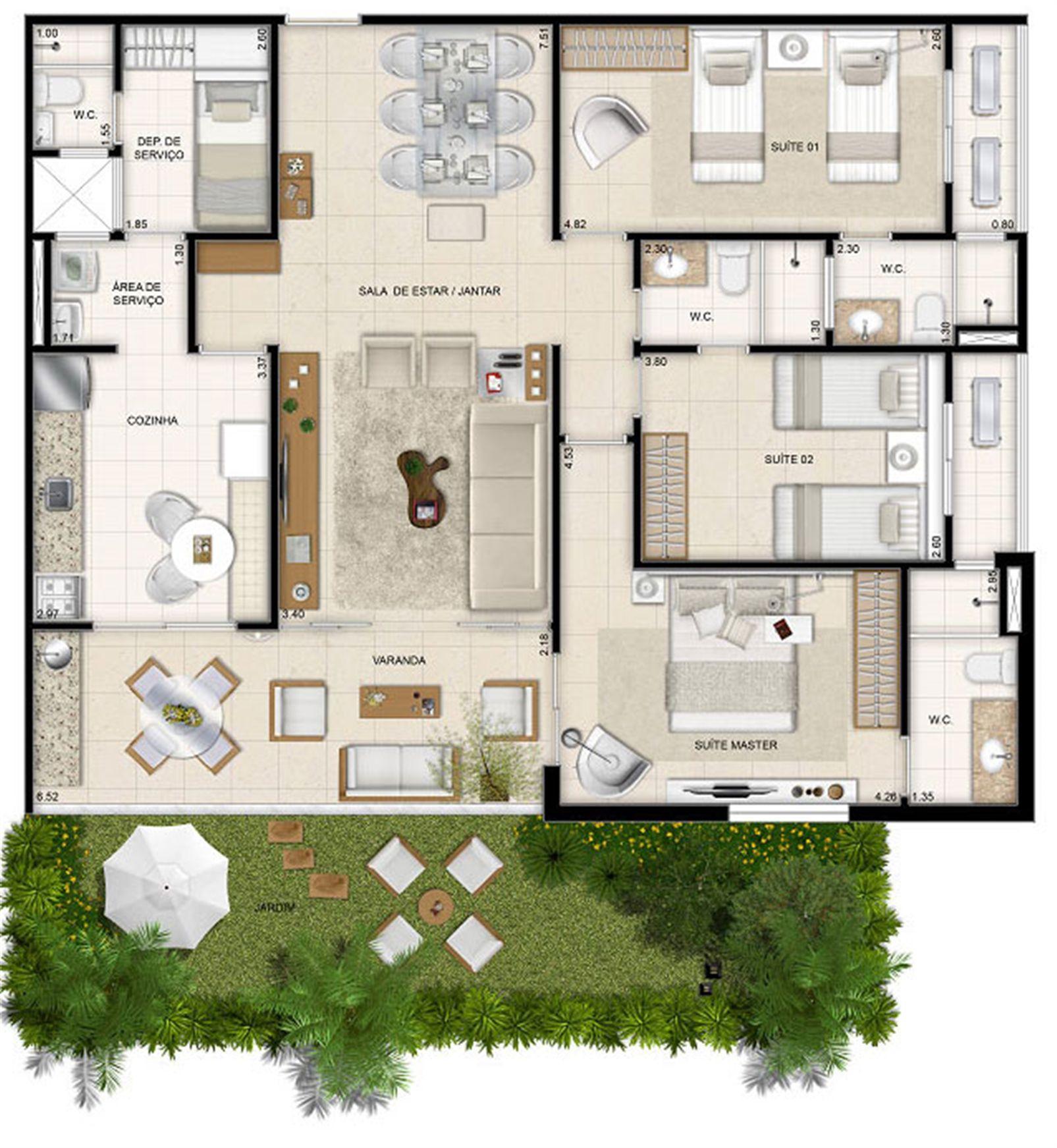 Perspectiva ilustrada da planta Mason Makani 126 m² | Mandara Kauai – Apartamentono  Porto das Dunas - Aquiraz - Ceará