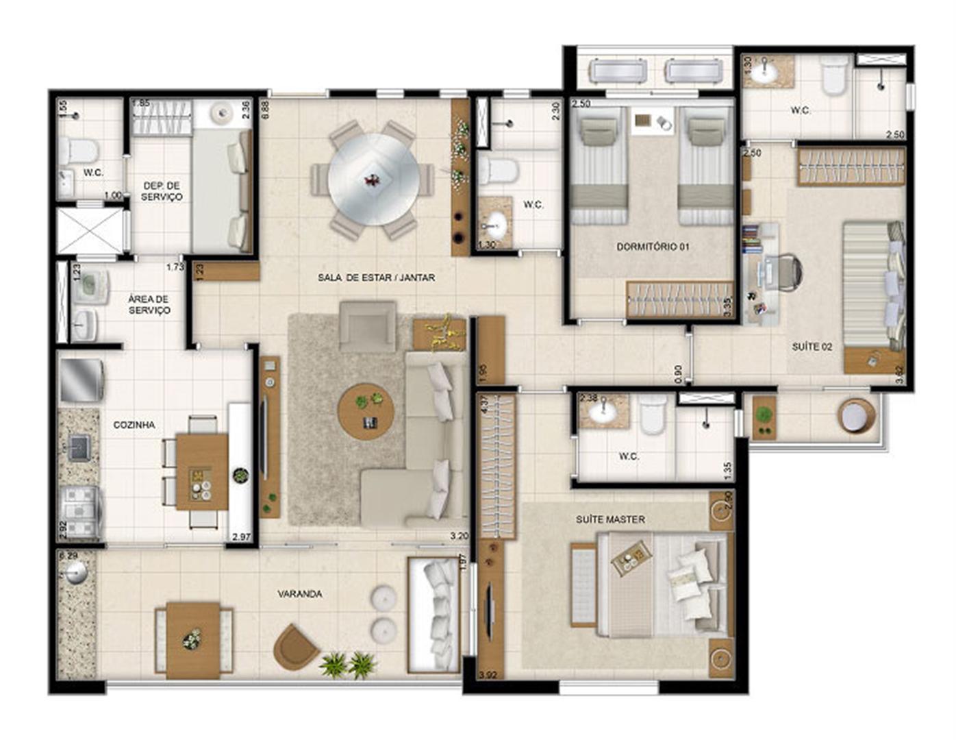 Perspectiva ilustrada da planta tipo Makani 113 m² | Mandara Kauai – Apartamento no  Porto das Dunas - Aquiraz - Ceará